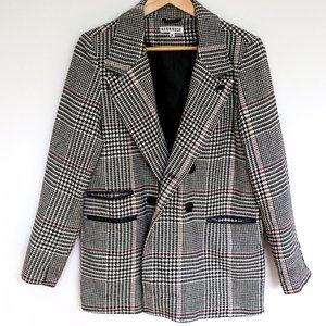 Neon Rose Houndstooth Check Blazer / Coat / Jacket